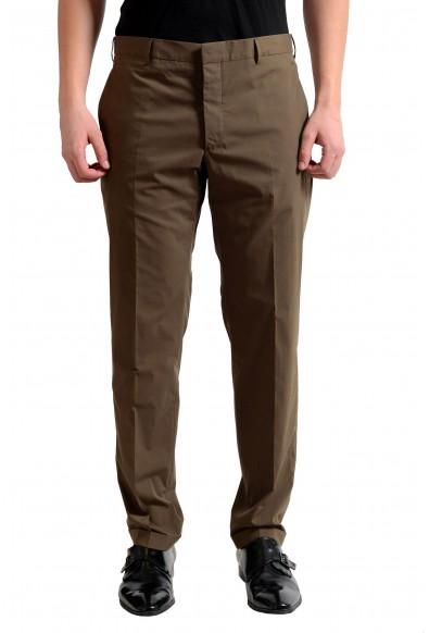 Prada Men's Olive Green Flat Front Dress Pants