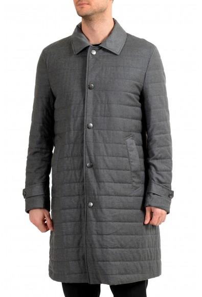 """Hugo Boss Men's """"Darion_Pad"""" Gray Wool Button Down Coat"""