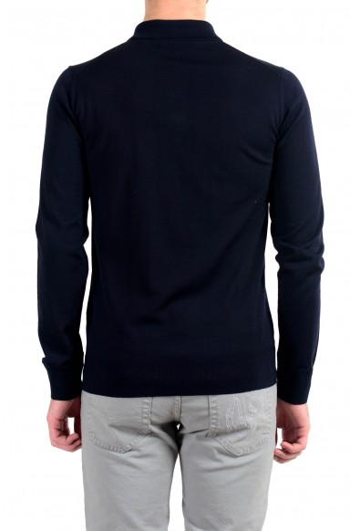Versace Men's 100% Wool Navy Blue Polo Style Pullover Sweater: Picture 2