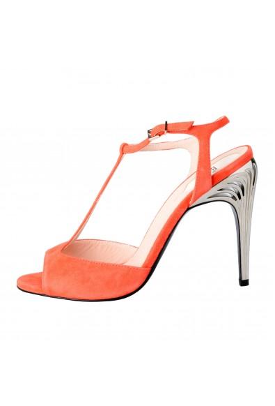 Fendi Women's Suede Open Toe T-Strap High Heels Sandals Shoes: Picture 2