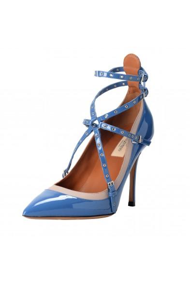 Valentino Garavani Women's Leather Blue Ankle Strap Pumps Shoes