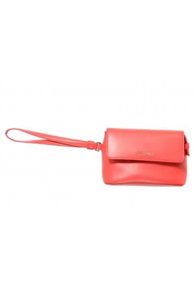 Versace 100% Leather Red Women's Handbag Clutch Bag