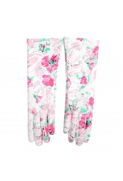 Prada Women's 100% Lambskin Leather 1GG053 Floral Print Gloves