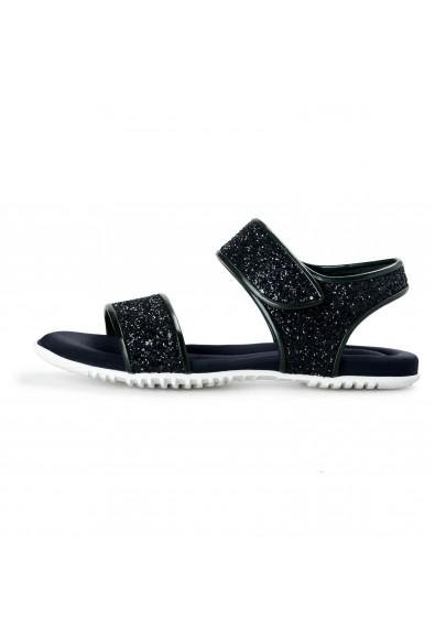 Marni Women's Sparkle Black Leather Canvas Sandals Shoes: Picture 2
