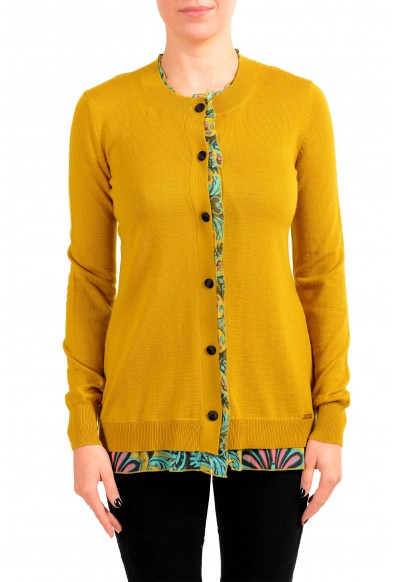 Just Cavalli Women's 100% Wool Multi-Color Cardigan Sweater