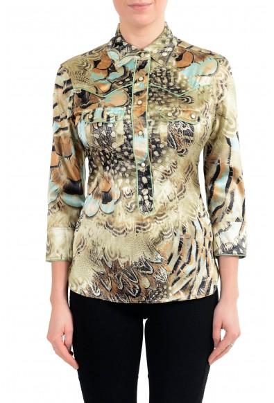 Roberto Cavalli Women's Multi-Color Silk 3/4 Sleeve Blouse Top