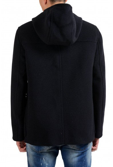 Prada Men's 100% Wool Navy Blue Button Up Hooded Pecoat : Picture 2