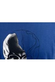 Just Cavalli Men's Blue Graphic Print Crewneck T-Shirt: Picture 8