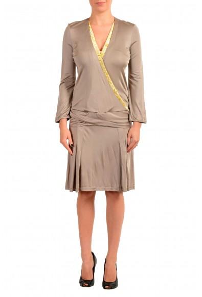Just Cavalli Women's Brown Long Sleeve Deep V-Neck Shift Dress