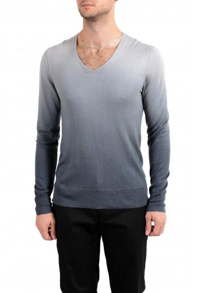 """John Varvatos """"Artisan"""" Men's Silk Cashmere Deep V-Neck Two Tones Sweater"""