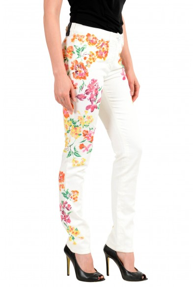 Versace Women's Off White Coated Floral Print Five Pocket Jeans: Picture 2