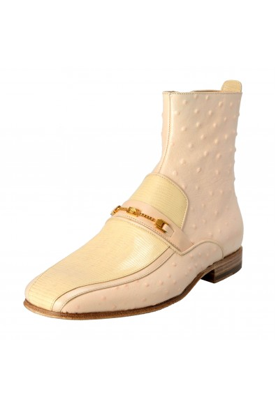 Versace Men's Beige Ostrich Skin Leather Ankle Boots Shoes