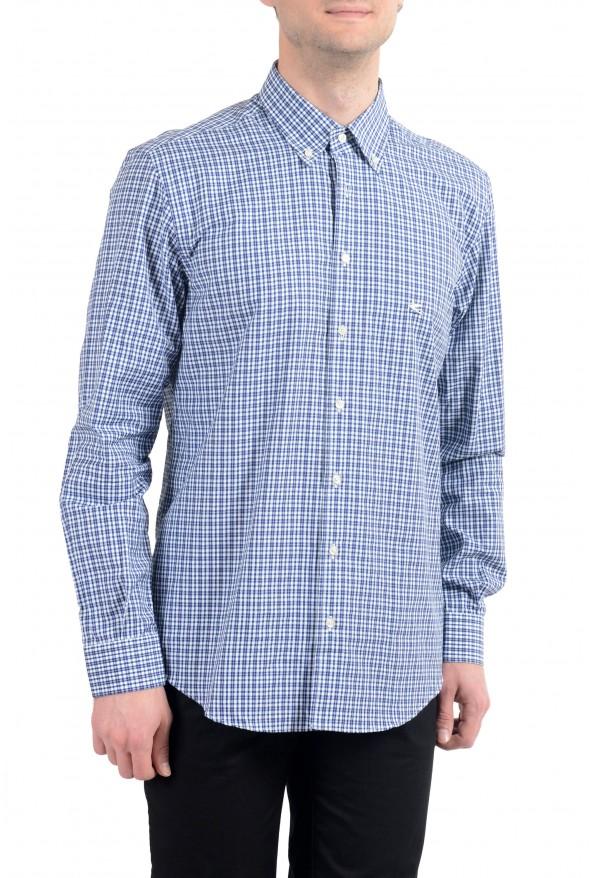 Etro Men's Blue & White Plaid Long Sleeve Dress Shirt : Picture 2