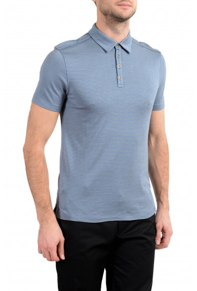 John Varvatos Light Blue Striped Silk Short Sleeve Men's Polo Shirt: Picture 2