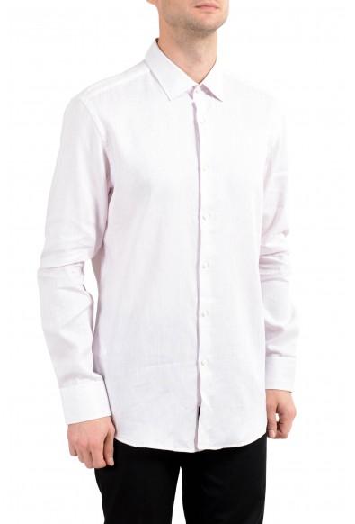 """Hugo Boss """"Jenno"""" Men's Striped Linen Slim Long Sleeve Dress Shirt"""