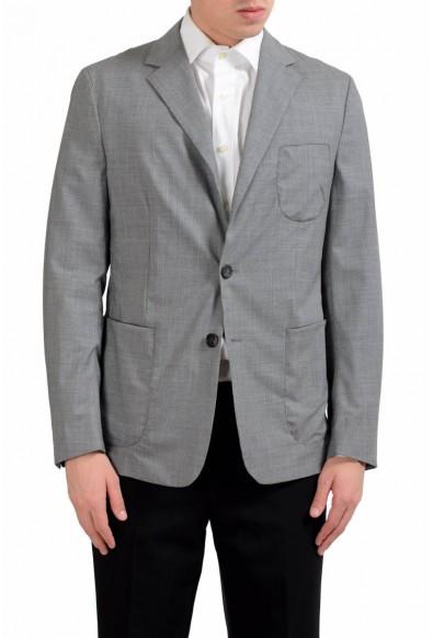 Malo Men's Wool Stretch Gray Two Button Blazer Sport Coat