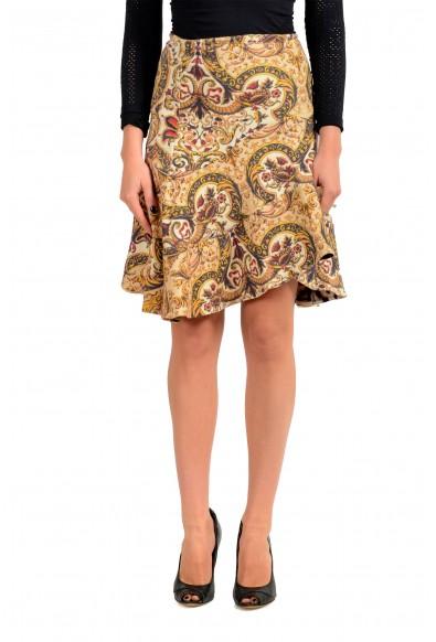 Just Cavalli Women's 100% Wool Floral Print Asymmetrical Skirt
