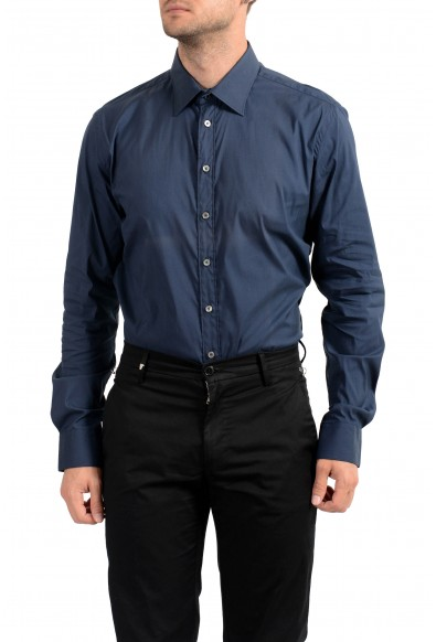 Malo Men's Dark Blue Stretch Long Sleeve Dress Shirt: Picture 2
