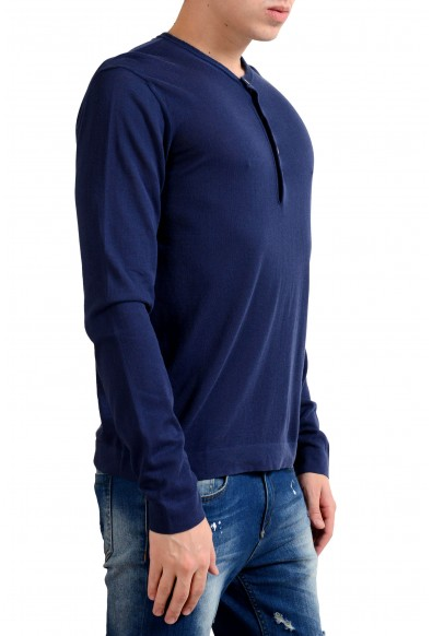 Malo Men's Navy Blue Henley Light Sweater : Picture 2