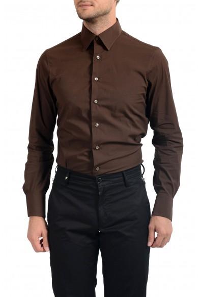 Malo Men's Dark Brown Stretch Long Sleeve Dress Shirt: Picture 2