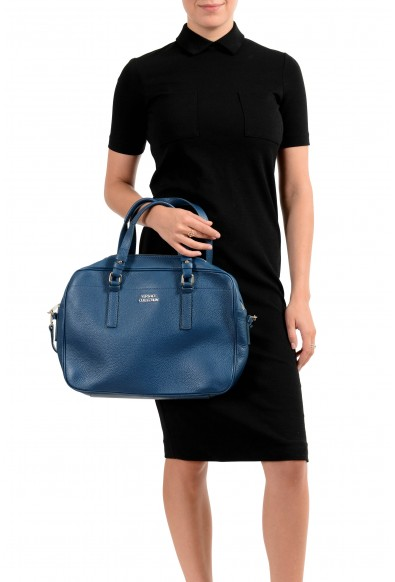 Versace Collection Women's Blue Pebbled Shoulder Handbag Bag: Picture 2