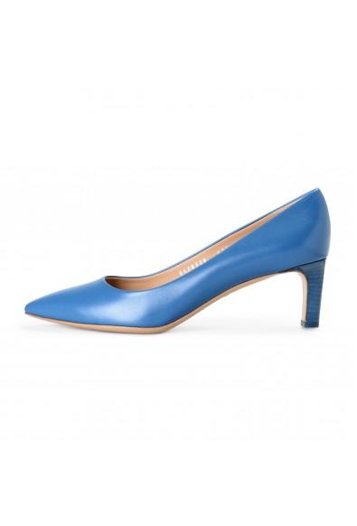 Salvatore Ferragamo Women's Flora Blue Leather High Heel Pumps Shoes: Picture 2