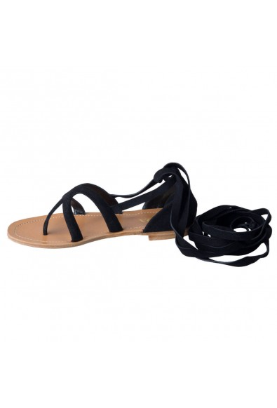 Prada Women's Black Suede Leather Wrap Around Gladiator Sandals Shoes : Picture 2