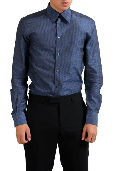 """Versace Collection """"Trend"""" Navy Patterned Men's Dress Shirt"""