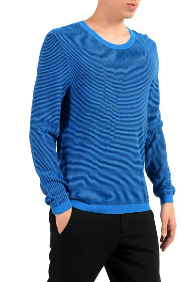Versace Collection Men's Crewneck Blue Ribbed Sweater: Picture 2