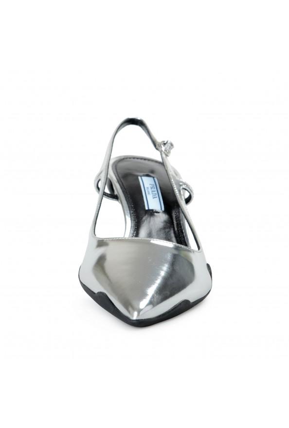 Prada Women's IT261L Silver Leather Slingbacks Pumps Shoes: Picture 8