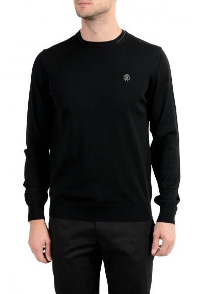 Roberto Cavalli Men's 100% Wool Black Crewneck Sweater