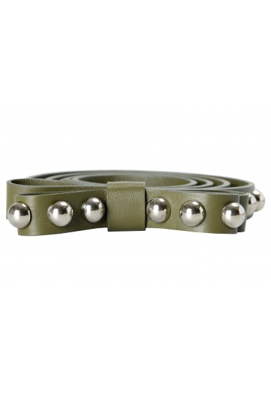 Red Valentino Leather Green Metal Beads Embellished Women's Belt: Picture 2