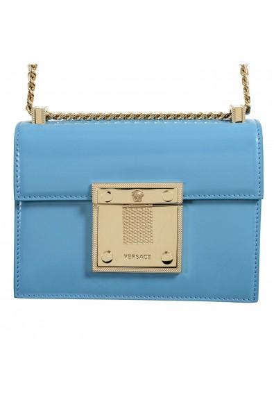 Versace 100% Leather Blue Chain Strap Women's Crossbody Shoulder Bag: Picture 2