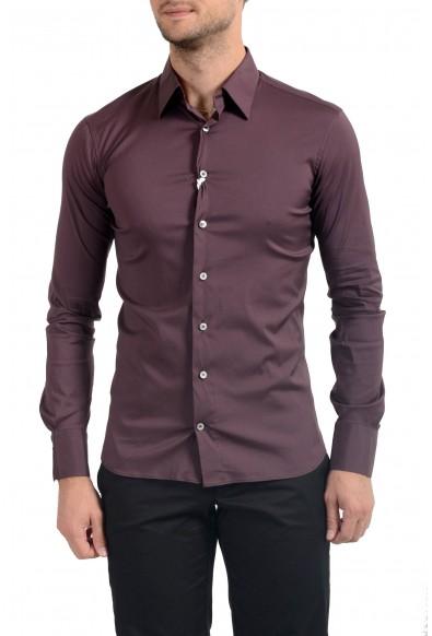 Malo Men's Dark Purple Stretch Long Sleeve Dress Shirt
