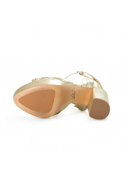 Prada Women's Gold Leather High Heel Platform Sandals Shoes: Picture 2