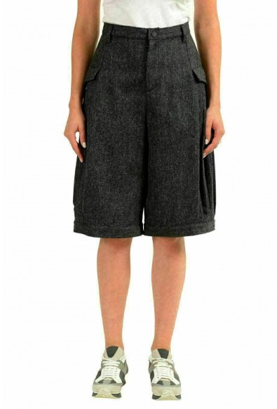 "Moncler ""Grenoble"" Women's 100% Wool Gray Winter Bermuda Shorts"