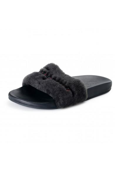 """Salvatore Ferragamo Men's """"Don"""" Black Lamb Fur Leather Flip Flop Sandals Shoes"""