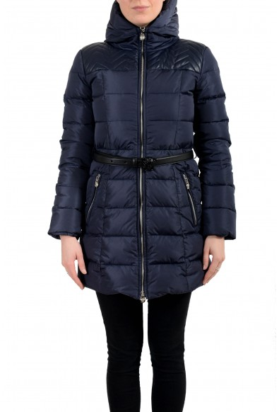 Versace Women's Blue Zip Up Hooded Belted Parka Jacket Coat