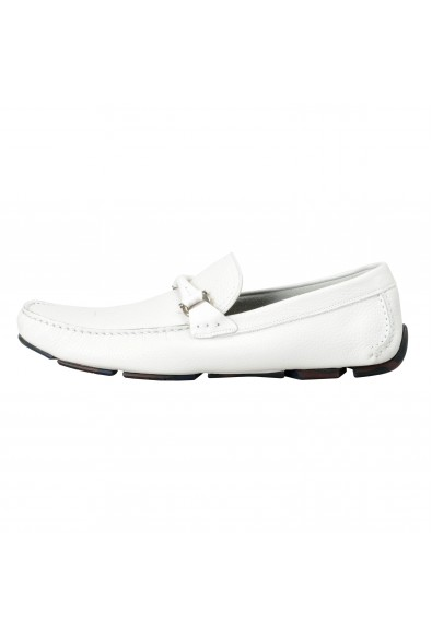 """Salvatore Ferragamo Men's """"Granprix"""" White Leather Slip On Loafers Shoes: Picture 2"""