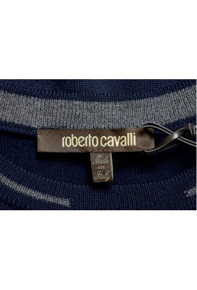 Roberto Cavalli Men's 100% Wool Navy Blue Crewneck Sweater: Picture 2
