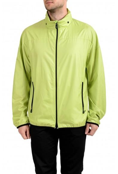 """Hugo Boss """"Jiano"""" Men's Full Zip Green Hooded Windbreaker Jacket"""