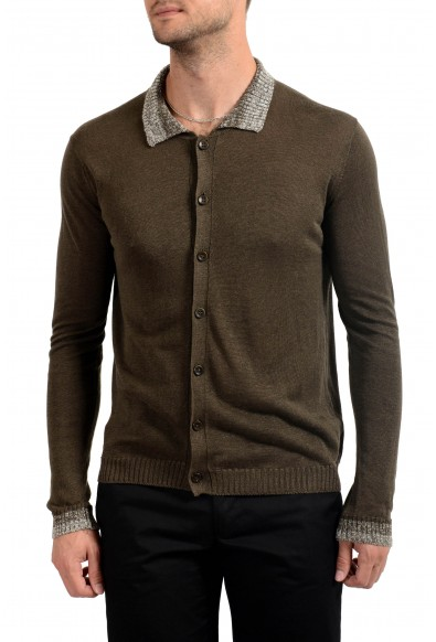 Malo Men's 100% Linen Brown Cardigan Light Sweater