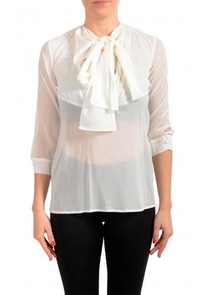 Just Cavalli Women's See Through White Silk Blouse Top