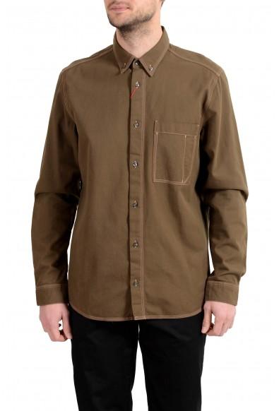"Hugo Boss ""Ellem"" Men's Olive Green Long Sleeve Casual Shirt"