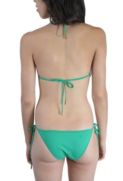 Dsquared Women's Green Metal Detail Decorated Two Piece Bikini Swimsuit US L EU 44: Picture 2