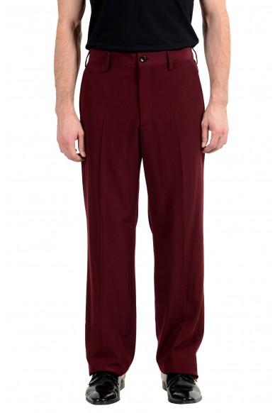 Gucci 100% Wool Burgundy Men's Casual Pants