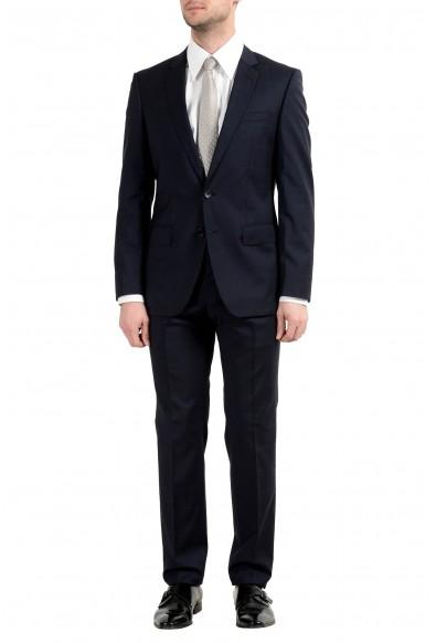 "Hugo Boss ""Huge6/Genius4"" Men's 100% Wool Dark Blue Plaid Two Button Suit"