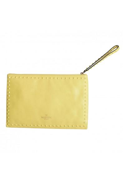 Valentino Garavani Women's Yellow 100% Leather Rockstud Wristlet Clutch Bag