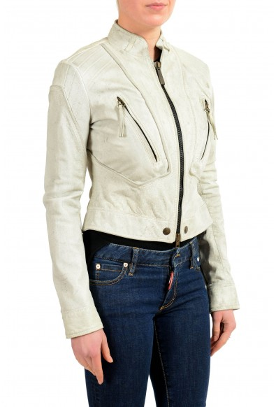 Just Cavalli 100% Leather Gray Full Zip Women's Basic Jacket: Picture 2