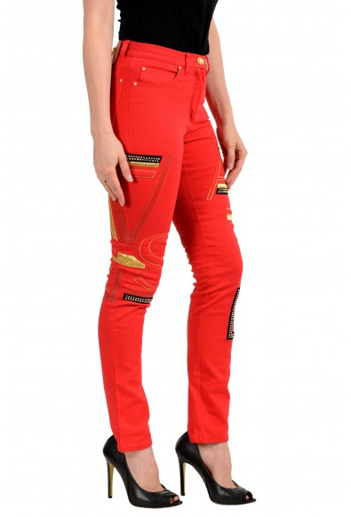 Versace Women's Bright Red Embellished Five Pocket Jeans: Picture 2